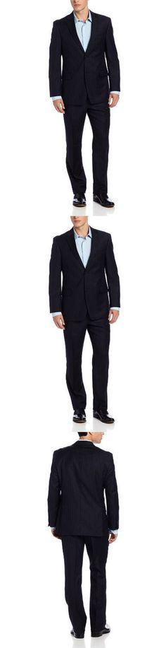 Tommy Hilfiger Men's Trim Fit 2 Button Side Vent Notch Lapel Nathan Suit,  Navy Stripe, 38 R, 2 button side vent flat front Nathan, #Apparel, #Suits