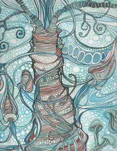 AQUATIC 8.5 x 11 print of detailed watercolour in whimsical blue aqua turquoise olive green orange earth tones, indonesia, organic