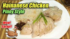 HAINANESE CHICKEN WITH HAINANESE RICE PINOY STYLE - SARAP NITO PROMISE!!! Hainanese Rice, Hainanese Chicken, Ginger Slice, Stuffed Whole Chicken, Pinoy, Breakfast Recipes, Pork, Cooking Recipes, Beef
