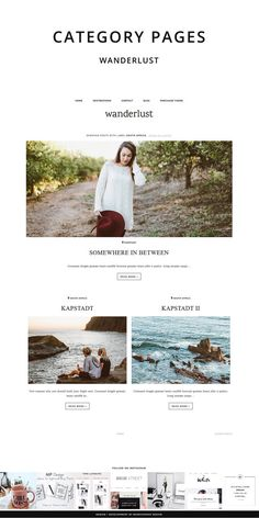 Magazine Blogger Template Wanderlust / Responsive Template for Lifestyle and Travel Bloggers at MunichParis Studio. Minimalist Clean Website Layout with great Features like Instagram Feed, Social Media Widget, Archive, Get on the List and Subscribe Widget. Shop more Themes and Templates at etsy.com/shop/munichparisstudio