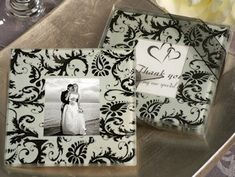 Damask Design Glass Photo Coaster Favors (Cassiani Collection 830)   Buy at Wedding Favors Unlimited (http://www.weddingfavorsunlimited.com/damask_design_glass_photo_coaster_favors.html).