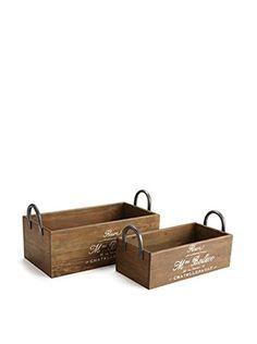 Napa Home & Garden Set of 2 Planter Boxes with Handles, Brown