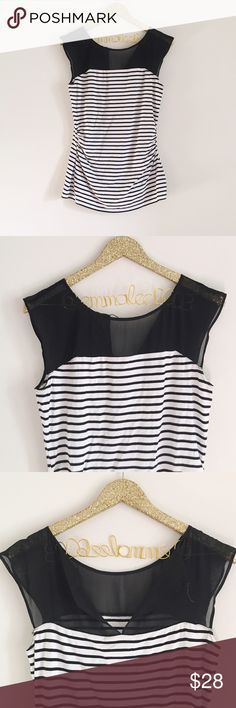 WHBM Striped Short Sleeve Blouse White House Black Market black and white striped Blouse. Short Sleeve. Black sheer material at top of Blouse. Scrunched sides. So flattering and comfy. Form fitting. Size M, no modeling/trades. White House Black Market Tops Blouses