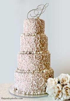 Pearl Wedding Cake in taupe | ♥ taupe~mocha ♥)