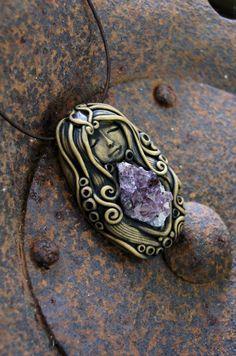 Goddess Amethyst Cluster Gemstone Pendant Necklace by TRaewyn, $115.00