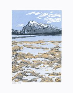 Rundle Mountain Spring Banff 4 Color Linocut Relief Print Hand Pulled Fine Art Limited Edition Printmaking Original