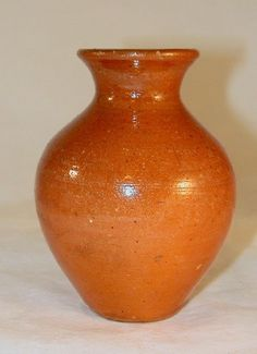 Antique Glazed Speckled Orange  Redware Miniature Vase  Jugtown Pottery North Carolina For your Antique Redware Collection