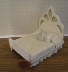 Shabby Chic double bed,, , Half Scale Dollshouse Miniature