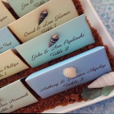 place cards for beach themed wedding #BeachWedding #PlaceCards #DestinationWedding