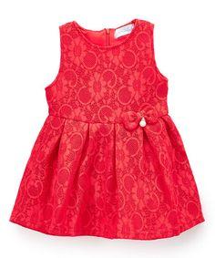 Look at this #zulilyfind! Red Lace Sleeveless Dress - Toddler & Girls #zulilyfinds