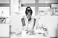 """""""Breakfast at ONOMO's"""", Dakar, 2013, from the series ONOMOllywood by Antoine Tempé & Omar Victor Diop.<br /> Model: Aminata.<br /> Hair and makeup: Chocolat Fraise. <br /> Necklace and headpiece: terracotta, glass, crystal and silver springs by Mickael Kra ArtWear. / """"Breakfast at ONOMO's/Diamants Sur Canapés"""", Dakar, 2013, de la série ONOMOllywood par Antoine Tempé & Omar Victor Diop.<br /> Modèle: Aminata.<br /> Coiffure/maquillage: Chocolat Fraise. <br /> Collier et diadème: terre cuite…"""