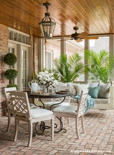Is everyone patio season ready? It's and we're going back a year to this Country-French style patio designed by Decor, Interior, Home, House With Porch, Outdoor Rooms, House Exterior, Porch Decorating, Enclosed Patio, Brick Flooring
