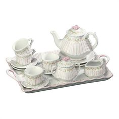 Pink Stripe 18 Piece Children's Porcelain Tea Set