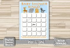 Baby Shower Bingo Safari - Baby Bingo Game Animals Jungle - Printable Baby Bingo Safari Animals Zoo pdf jpg - Instant Download - sb1 by DigitalitemsShop on Etsy