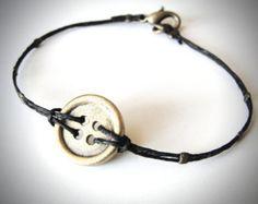 Button Up Brass and Linen bracelet