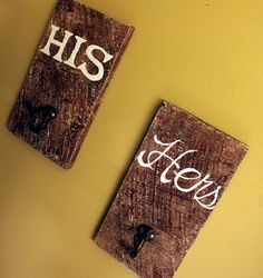 "This I think will be today's ""quick project""!  Will work perfect in my bathroom!......Rustic Towel Hooks - His & Hers - Reclaimed Barn Wood"