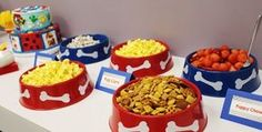 Puppy Perfect Paw Patrol Party!! - Crowning Details I love the dog bowl serving dishes!:
