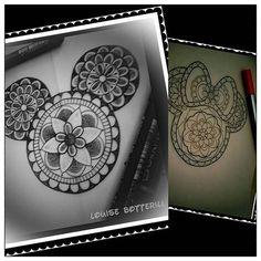 Mickey Mouse mandala, to go with Minnie I did last year Mickey Tattoo, Disney Tattoos, Disney Mandala Tattoo, Haunted Mansion Tattoo, Tattoo Fixes, Disney Designs, Pottery Classes, Black Dragon, Disney Fun