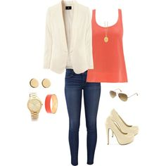 """""""Going Out"""" Corl tank, dark skinny jeans, gold jewelry, with nude/white jacket and pumps"""