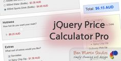 jQuery Price Calculator Pro . 12th April 2012: Version 1.5.0 has been released (updated preview image coming soon). It has been entirely rewritten in a more maintainable and extensible code style, and has plenty of bug fixes and a few new features. Checkout the