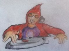 Hooded DJ - Quick Colored Pencil Sketch by Don J. Baldwin