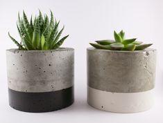 Paint dipped concrete planter pot - black