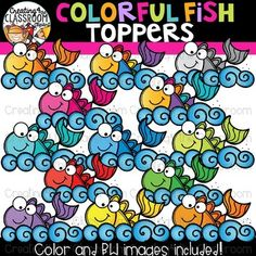Colorful Fish Toppers Clipart  {Rainbow Clipart} is perfect for customizing all of your Classroom Resources. Images have been provided in color and bw in 300 dpi. Click on the link to view this set and more in my Teachers Pay Teachers shop- Creating4 the Classroom #Clipartforteachers