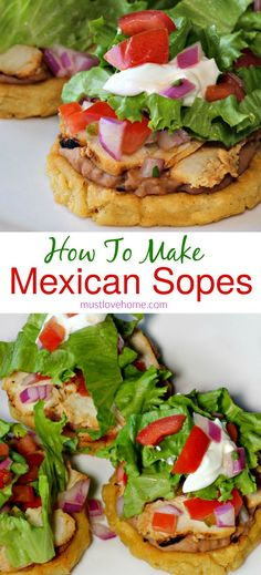 mexican cooking Easy Mexican Sopes are fresh and delicious appetizers that will be a hit at your next party - top them with your favorites like beans, cheese and sour cream! Mexican Appetizers, Delicious Appetizers, Yummy Food, Vegan Appetizers, Tasty, Mexican Cooking, Mexican Food Recipes, Vegetarian Mexican, Vegetarian Recipes