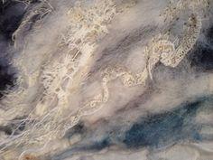 Sea textile art in progress Laura Edgar