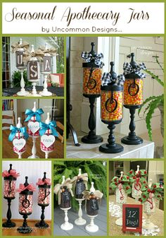 """and """"JOY"""" Apothecary Jars Revisited. """"BOO"""" and """"JOY"""" Apothecary Jars Revisited.""""BOO"""" and """"JOY"""" Apothecary Jars Revisited. Fall Crafts, Halloween Crafts, Holiday Crafts, Holiday Fun, Diy And Crafts, Holiday Decor, Mason Jars, Bottles And Jars, Mason Jar Crafts"""