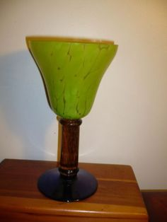 VTG-80s-MEMPHIS-ART-GLASS-GOBLET-HANDMADE-3-COLORS-3-PARTS-LIME-AMBER-COBALT-8