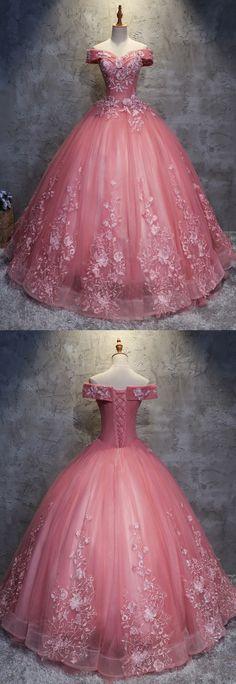 wedding dress cinderella Ballkleid Off-the-Schulter Tll Brautkleid mit Applikationen # . Quince Dresses, Ball Dresses, Evening Dresses, Formal Dresses, Prom Dresses, 15 Dresses Pink, Pink Ball Gowns, Cheap Dresses, Elegant Dresses