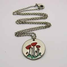 Handmade Red Poppies on Silver Colored by IslandGirlExpression
