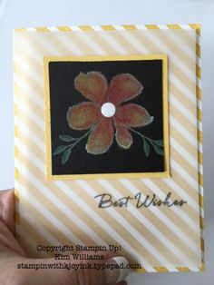 Stamping Technique, Black magic. Kim Williams, stampin with kjoyink. Pink Pineapple Paper Crafts. Fun and easy stamping technique using white craft ink, black cardstock and watercolor pencils. Cool card idea to try.