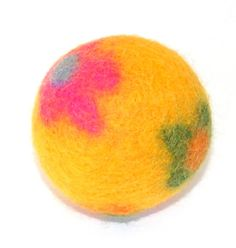Leaping Sheep all natural YELLOW flower power by naturaldryerballs, $7.00