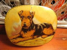Your place to buy and sell all things handmade Vintage Tins, Tin Boxes, Terrier Dogs, Toffee, Vintage Advertisements, Art Pieces, Old Things, Art Deco, Antiques