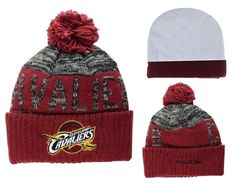 3b661937af5 Mens   Womens Cleveland Cavaliers Mitchell and Ness NBA Team Color Jacquard  Stripe Pom Knit Beanie Cap - Grey   Red