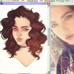 Finishing up this commission for Eve  @beetlejuiceex <3 #artistoninstagram #illustrator #illustration #drawing #paintoolsai #painting #sketch #wavyhair #ombrehair #wingedliner #nosering #choker