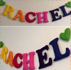 A personal favourite from my Etsy shop https://www.etsy.com/uk/listing/261949492/personalised-felt-letter-garland-rainbow
