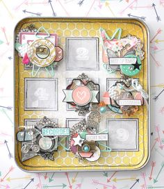 Travel Nought and Crosses tin by Emma Trout using Allison Kreft 'Recorded' collection