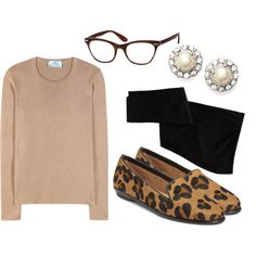 Leopard Loafer by redwhiteandblueeyed on Polyvore featuring Prada, Old Navy, Aerosoles and Marchesa
