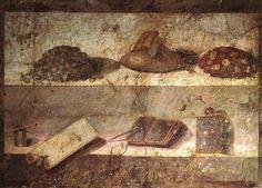 Money purse and heaps of coins and writing utensils: Praedia of Julia Felix Pompeii