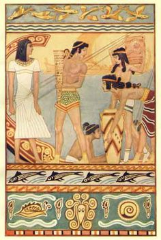 Sea Traders from Crete, by John Duncan, from Myths of Crete and Pre-Hellenic Europe by Donald A. Ancient Rome, Ancient Greece, Ancient Art, Mycenaean, Minoan, Sea Peoples, John Duncan, King Tut Tomb, Mother Goddess