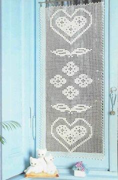 Agreable Rideau Coeurs. Rose En Ruban, Rideaux Crochet, Dentelle, Rideaux En Crochet,