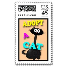 Adopt a Cat Postage Stamp Cute colorful cat design