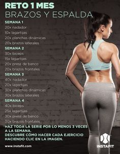 Reto 1 mes: Tonifica tu cuerpo con esta rutina de brazos y espalda - Challenge 1 month: Tone your body with this routine arms and back Physical Fitness, Yoga Fitness, Fitness Tips, Fitness Motivation, Health Fitness, Fitness Games, Fitness Planner, Muscle Fitness, Fitness Tracker