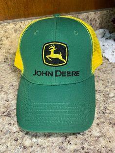 4e4f241d934 John Deere Logo Trucker Mesh Foam Hat Green Yellow  JohnDeere  BaseballCap