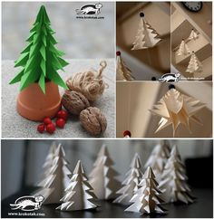 Instead of buying Christmas tree, you can make some paper Christmas tree with different colors to decorate your rooms. The steps are pretty simple