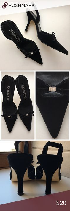 "Elegant Black Velvet Evening Heels 💎 Luscious black velvet sling back heels. Bow details with rhinestone encrusted center. Size: 7.5, heel height: 4"". Never worn, just sat in a box. No creases, no flaws in velvet, no foot print on insoles, all rhinestones are attached. Sam & Libby Shoes Heels"