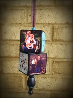 Ornament Photo Block Personalized with 2 2x2 Blocks - Blocks From The Heart